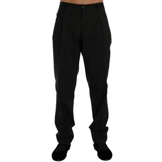 Dolce & Gabbana Dolce & Gabbana Black Striped Cotton Dress Formal Pants - it52-xl