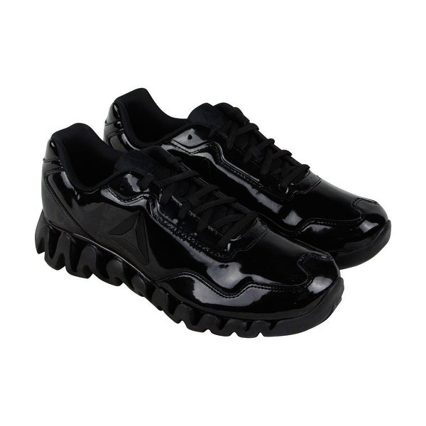 Reebok Zigpulse SE Mens Black Patent Leather Running Shoes