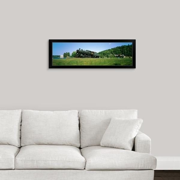 """Steam train in a field near Lake Kashagawigamog, Haliburton, Ontario, Canada"" Black Framed Print"