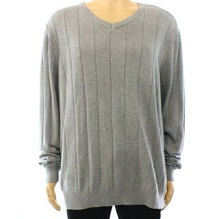 John Ashford NEW Gray Mens Size Small S Ribbed Knit V-Neck Sweater
