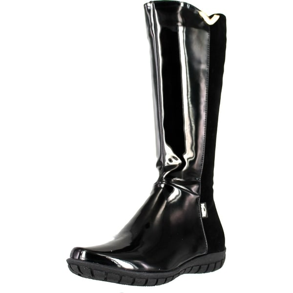 Venettini Girls Destiny Tall Elastic 50 50 Fifty Fifty Designer Boots - black patent/black suede/