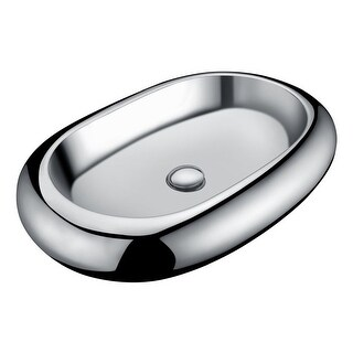"""Anzzi LS-AZ269 Prussian 24"""" Vitreous China Vessel Bathroom Sink with Matching Dr"""