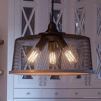 """Luxury Vintage Pendant Light, 10.25""""H x 16""""W, with Industrial Chic Style, Olde Bronze Finish by Urban Ambiance"""