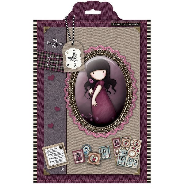 Santoro Gorjuss Tweed A4 Decoupage Pack-Pink Poppy
