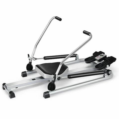 Exercise Adjustable Double Hydraulic Resistance Rowing Machine