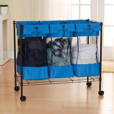 Household Essentials Rolling Triple Laundry Sorter on Wheels, Black Steel Frame