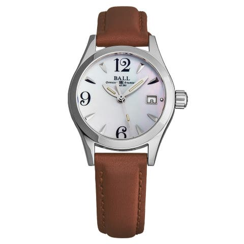 Ball Women's NL1015D-L-WH 'Engineer' Mother of Pearl Dial Brown Leather Strap Swiss Quartz Watch