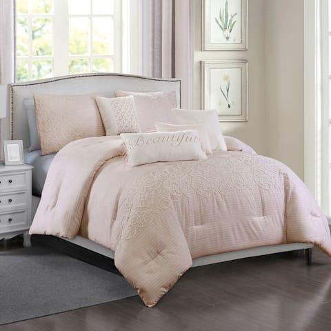 Porch & Den Kerry Pink Microfiber 7-piece Comforter Set