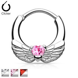 Angel Wings with Heart CZ 316L Surgical Steel Septum Clicker (Sold Ind.)