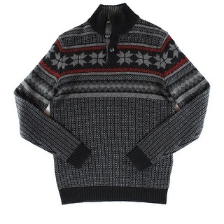 Club Room NEW Deep Black Mens Small S Fair Isle Print Mock Neck Sweater