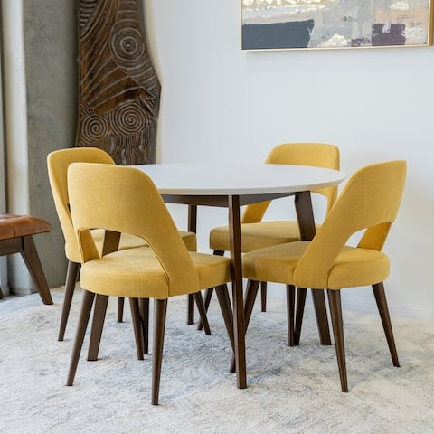 Conroy 5-Piece Mid-Century Modern Dining Set with 4 Linen Dining Chairs in Yellow