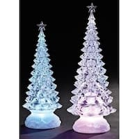 Set of 2 LED Clear Lights Christmas Tree Tabletop Figures 13""