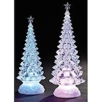 set of 2 led clear lights christmas tree tabletop figures 13