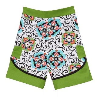 Girls Green Floral Geometric Scroll Mixed Pattern Cotton Shorts 7-10 (3 options available)