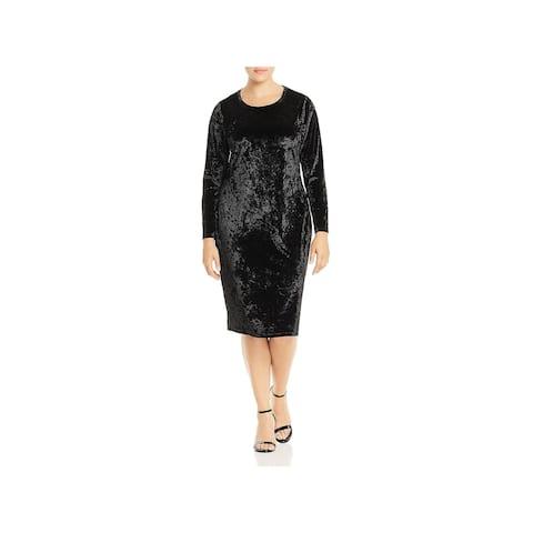 Michael Kors Womens Plus Cocktail Dress Velvet Knee-Length