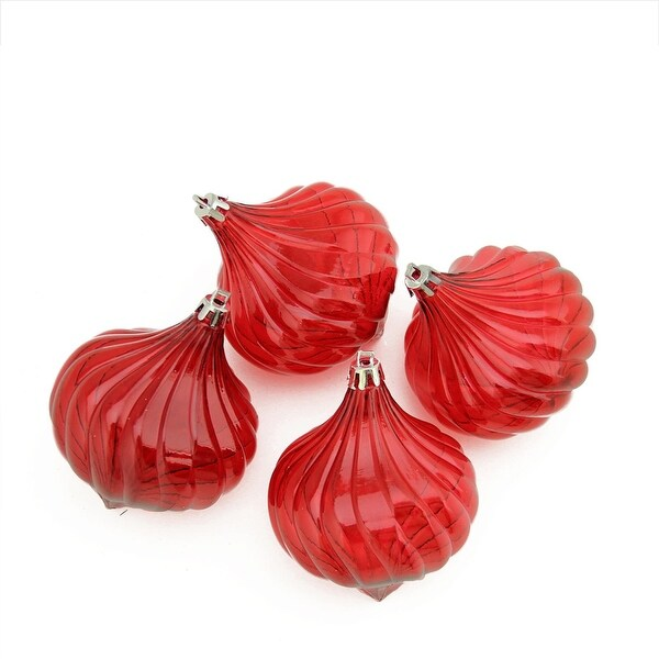 4ct Red Hot Transparent Onion Drop Shatterproof Christmas Ornaments 4.5""