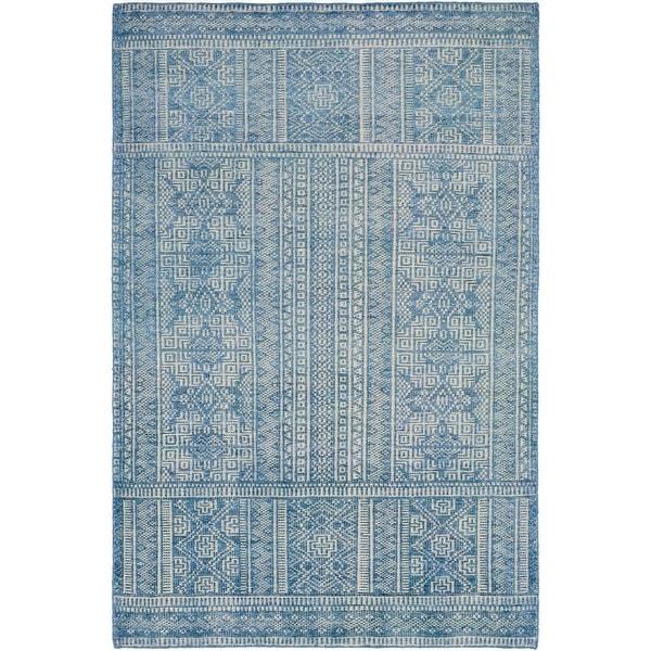2 5 X 8 Contemporary Blue And Khaki Rectangular Area