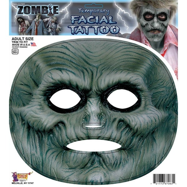 Zombie Facial Tattoo Facial Film Prosthetic Costume Makeup Accessory - gray