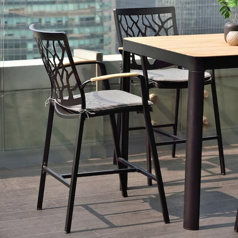 Portals Outdoor Patio Aluminum Barstool in Black with Cushion and Natural Teak Wood Accent