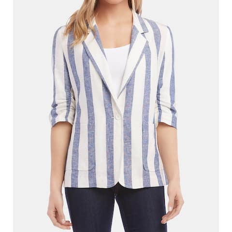 Karen Kane Womens Jackets Blue Size XL Striped Linen Ruched-Sleeve