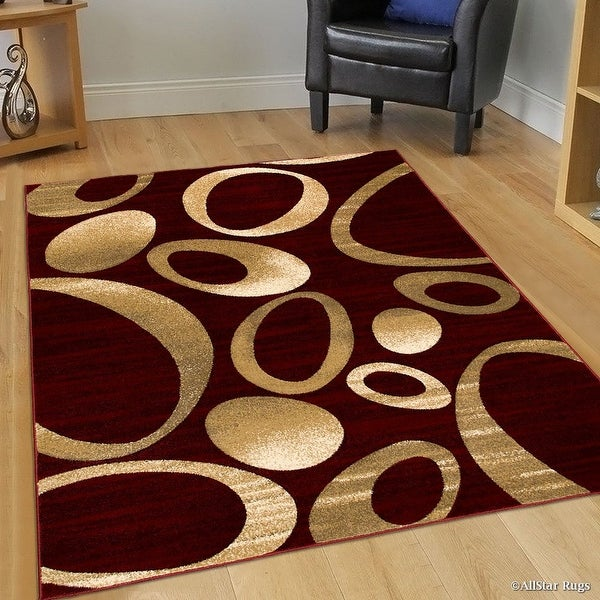 Allstar Rugs Burgundy Carved Circles Modern Geometric Area