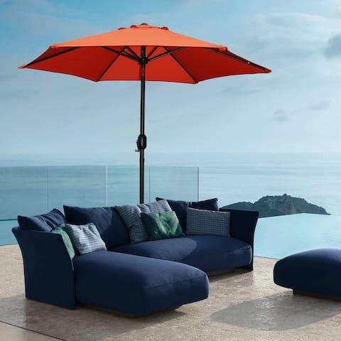 Davee Furniture 7.5 Ft Orange Patio Umbrella with Tilt and Crank