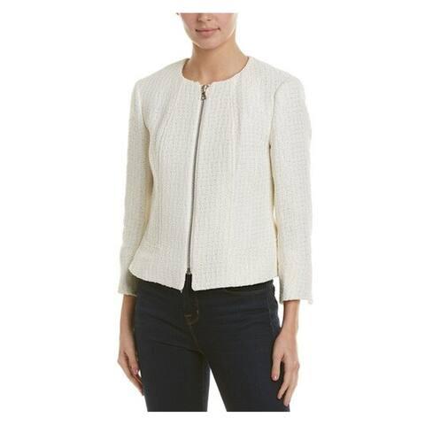 ANNE KLEIN Womens Ivory Zip Up Wear To Work Jacket Size 2