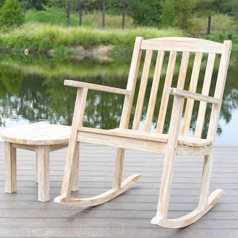 Valencia Teak Outdoor Rocking Chair, White