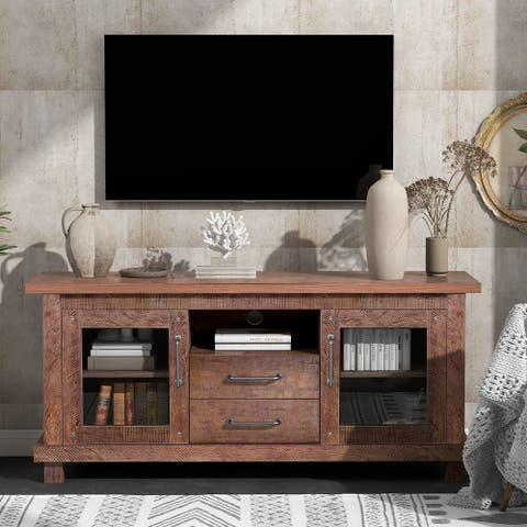 Retro Industrial Vintage Particleboard Barnwood TV Stand