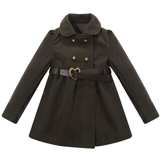 Richie House Girls' Jacket with Fake Leather Belt and Metal Snaps Closure