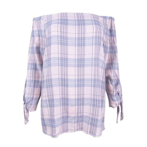 Two by Vince Camuto Women's Plaid Off-The-Shoulder Top - New Ivory