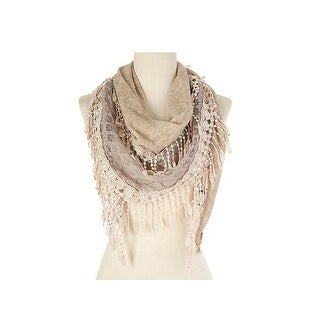 Women's Fancy Lace Fringes Triangle Scarf - Light Khaki