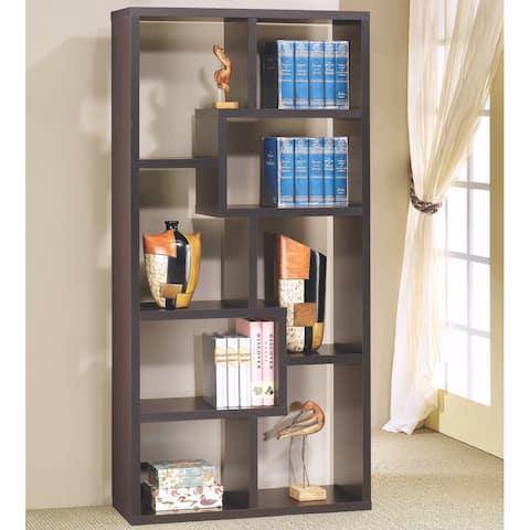 Modern Multi Shaped Mosaic Design Cappuccino Bookcase Display