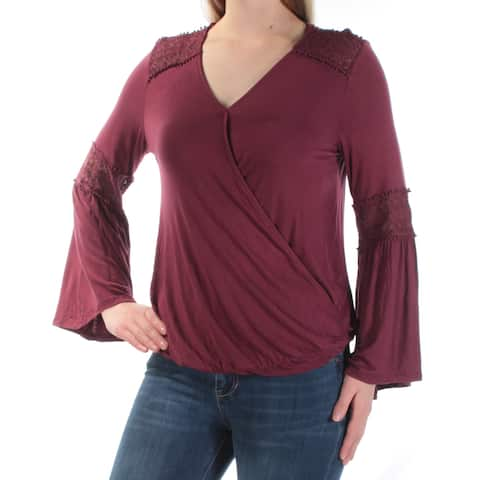JOHN PAUL RICHARD Womens Burgundy Lace Bell Sleeve V Neck Faux Wrap Top Size: S