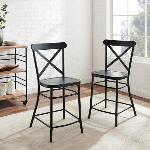 Camille 2Pc Metal Counter Stool Set - 19.25 W x 19.25 D x 40.24 H