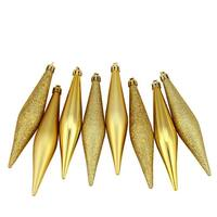 "8ct Vegas Gold Shatterproof 4-Finish Christmas Finial Drop Ornaments 6"""