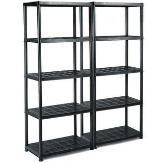 Gymax 2 PCS 5-Tier Ventilated Shelving Storage Rack Free Standing Multi-Use Shelf Unit