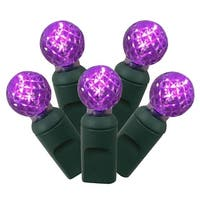 "Set of 100 Purple Commercial Grade LED G12 Berry Christmas Lights 4"" Spacing - Green Wire"