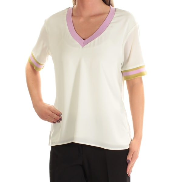 546a1a17851f Shop CYNTHIA ROWLEY Womens Ivory Short Sleeve V Neck T-Shirt Top Size: S -  On Sale - Free Shipping On Orders Over $45 - Overstock - 24061214