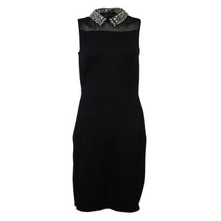 Lauren Ralph Lauren Women's Rhinestone Embellished Collar Knit Dress - Black