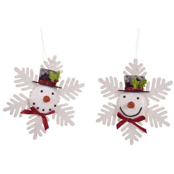 "Club Pack of 12 Decorative Indoor Outdoor White Snowman Snowflake Christmas Ornaments 7.5""H"