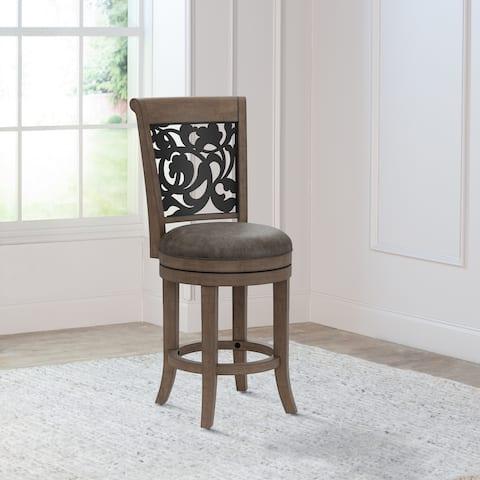 Hillsdale Furniture Bennington Wood Swivel Stool with Ornate Metal Back Inlay, Rustic Oak