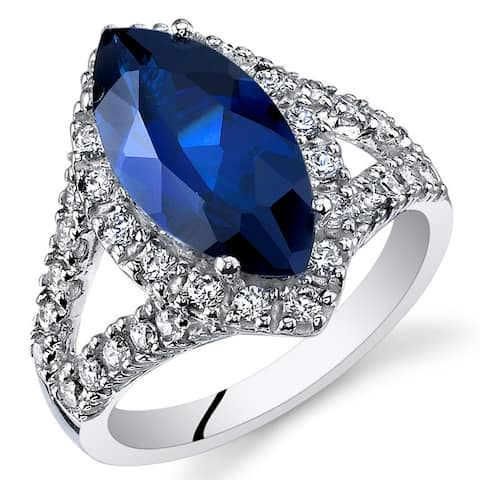 Created Blue Sapphire Ring in Sterling Silver 3.50 Carats Marquise Cut