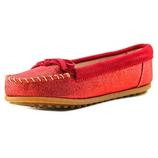 Minnetonka Glitter Moccasin Youth Leather Red Moccasins