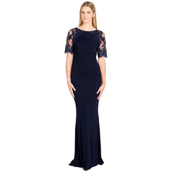 Badgley Mischka Lace Jersey Shirred Evening Gown Dress Navy