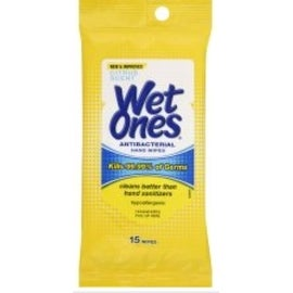 WET ONES Moist Towelette, Antibacterial, Citrus, Travel Pack 15 ea