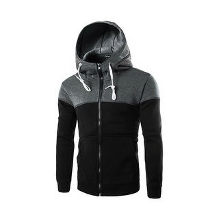 HZ150707 Men Color Block Drawstring Kangaroo Pocket Front Zip Hoodie Jacket