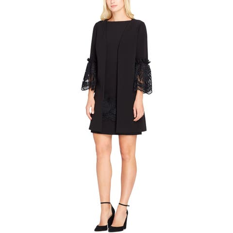 Tahari ASL Womens Dress With Jacket Lace-Trim Knee-Length