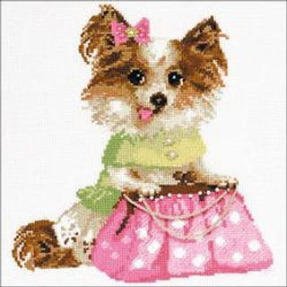 """9.75""""X9.75"""" 14 Count - Chihuahua Counted Cross Stitch Kit"""