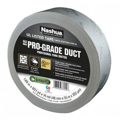 "Nashua 1086927 Pro-Grade UL Listed Duct Tape, Silver, 14 Mil, 1.89""x60 Yd, #557"